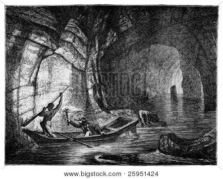 River Styx in the Mammoth Cave. Illustration originally published in Hesse-Wartegg's