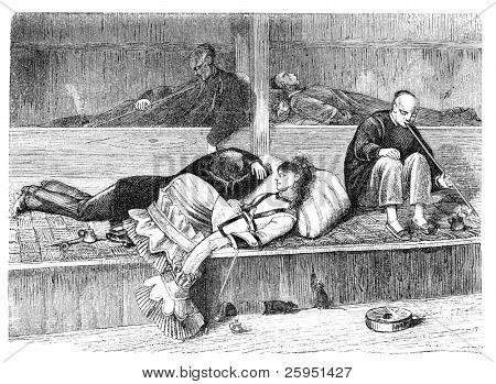 Opium Den in San Francisco. Illustration originally published in Hesse-Wartegg's