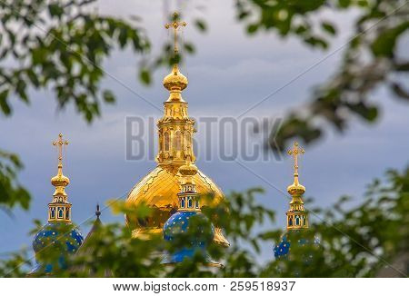 poster of Gilded bell towers of the Russian Orthodox Church in Tobolsk-beautiful old Russian stone traditional architecture of the middle ages (Western Siberia, Russia)