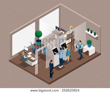 Isometric Office Of The Bank, Bank Employees Serve Customers, Electronic Queue, Entry To Reception.