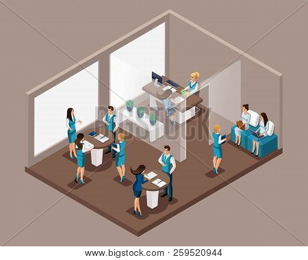 Isometric Office Of The Bank, Bank Employees Serve Customers, Issue Credit, Bank Loans, Borrowing. W