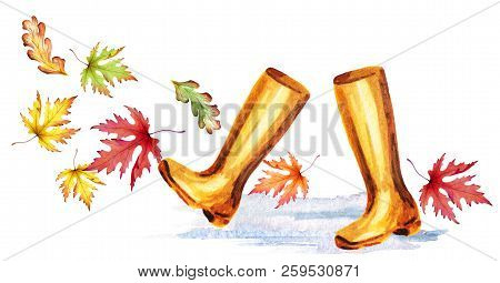 Rainboots And Colorful Autumn Leaves. Watercolor Hand-drawn Illustration