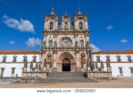 Alcobaca, Portugal. Monastery of Alcobaca Abbey, a masterpiece of the Medieval Gothic architecture. Cistercian Religious Order