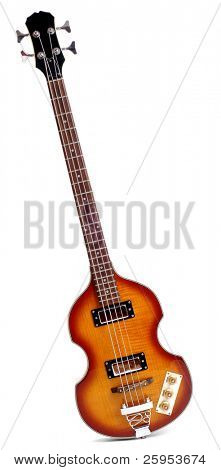 Viola Style Sixties Bass Guitar Isolated Over White