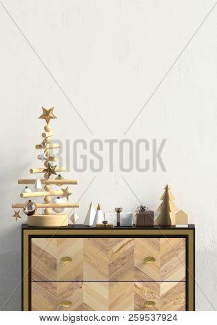 Modern Christmas interior with dresser, Scandinavian style. Wall mock up. 3D illustration poster