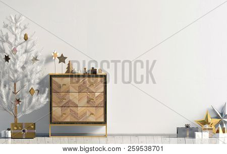 Modern Christmas Interior With Dresser And Christmas Tree, Scandinavian Style. Wall Mock Up. 3d Illu