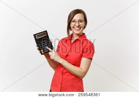 Portrait Of Business Teacher Or Accountant Woman In Red Shirt, Glasses Holding Calculator In Hands I