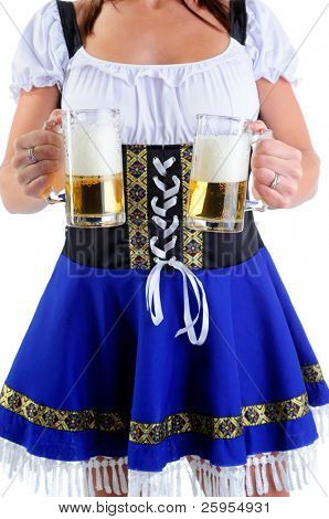 Beautiful Woman Wearing A Traditional Dirndl Costume For Oktoberfest Celebrations Holding Two Beer Steins