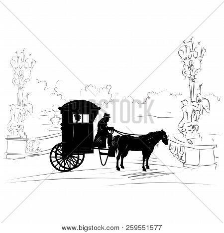 Retro Scene Of Retro Lifestyle With Wheelchair With A Coachman