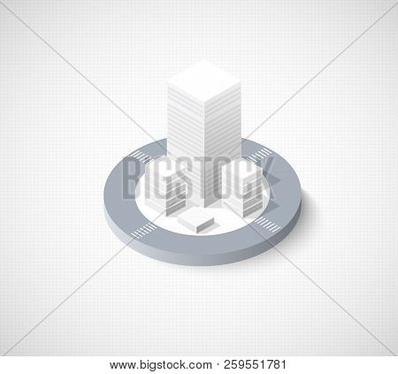 Isometric Illustration City Urban Area With A