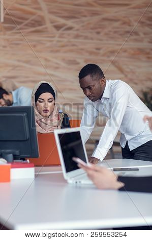 Startup Business People Group Working Everyday Job At Modern Office. Tech Office, Tech Company, Tech
