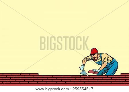 Builder Lays Brick Vector & Photo (Free Trial) | Bigstock