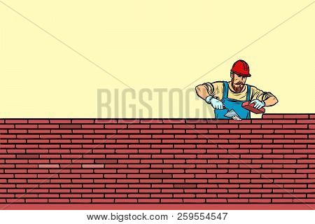 The Builder Lays Brick Masonry In The Middle. Pop Art Retro Vector Illustration Vintage Kitsch