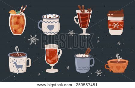 Vector Collection Of Hot Drinks. Hot Chocolate, Coffee, Cocoa With Whipped Cream And Marshmallow, Mu