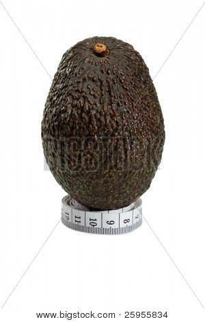 Hass Avocado From Mexico On A Metric Tape measure, Concept For A Healthy Diet