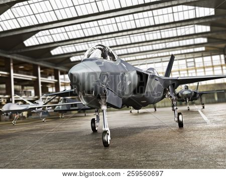 Military Aviation Arsenal Inside A Military Hangar Awaiting Deployment. F 35 Fighter Jet, Stealth Fi