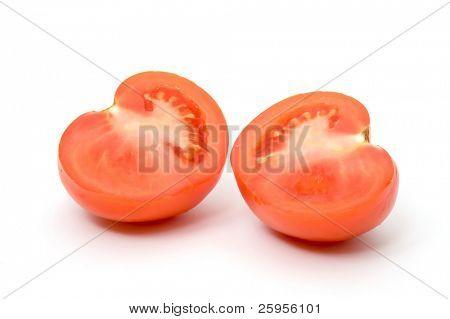 Tomato slices, lobules on the white