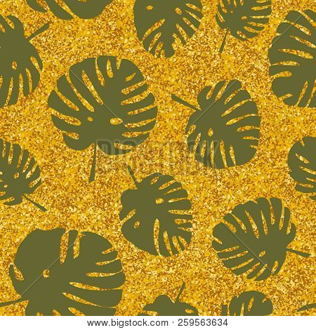 Tile Tropical Vector Pattern With Exotic Leaves On Golden Background For Seamless Decoration Wallpap