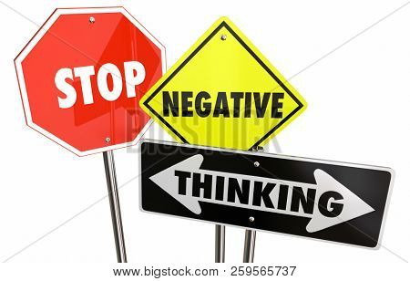 Stop Negative Thinking Bad Thoughts Warning Signs 3d Illustration