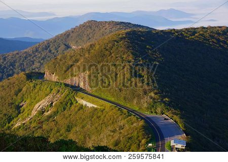 Blue Ridge Parkway Road From The Craggy Pinnacle In The Blue Ridge Mountains Of Western North Caroli
