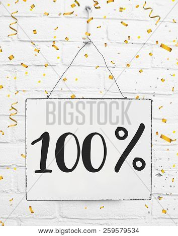Hundred 100 % Percent Off Black Friday Sale 100% Discount Golden Party Confetti Banner Billboard