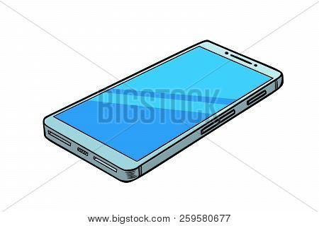 Smartphone Phone Isolate On White Background. Comic Cartoon Pop Art Retro Vector Illustration