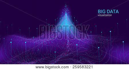 Big Data Vector Visualization. 3d Futuristic Cosmic Design. Technology Background. Visual Presentati