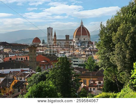 View Of Duomo Santa Maria Del Fiore (florence Cathedral) In Evening As Viewed From Piazzale Michelan