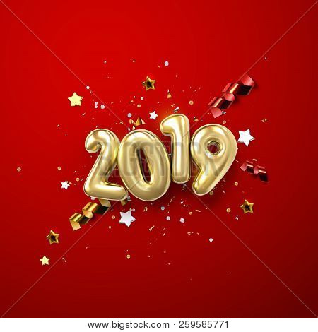 Realistic 2019 Golden Numbers And Festive Confetti, Stars And Spiral Ribbons On Red Background. Vect