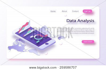 Business, Data Charts, Incoming Information Isometric. Data Analytics Concept Banner. Bigdata Report