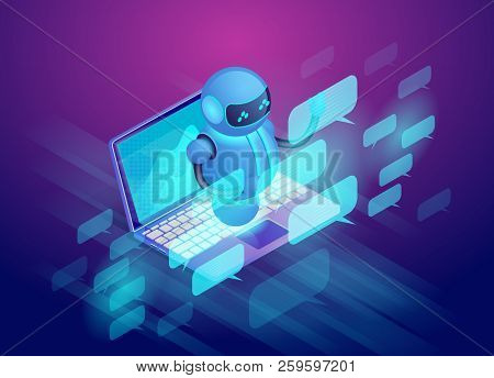 Chat Bot And Communication System. Robot Assistant Concept. Bot Virtual Assistance. Digital Technolo