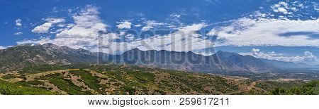 Panoramic Landscape View From Travers Mountain Of Provo, Utah County, Utah Lake And Wasatch Front Ro
