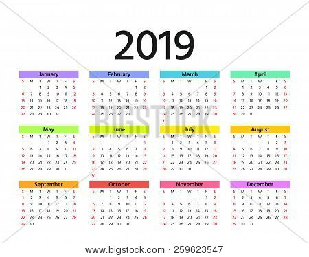 2019 calendar vector week starts sunday in minimal simple style stationery 2019 year horizontal template yearly calendar organizer for weeks