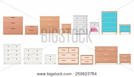 Chest Of Drawers, Bedside Table Set. Vector. Furniture Icon In Flat Design. Wooden Textured Dresser,