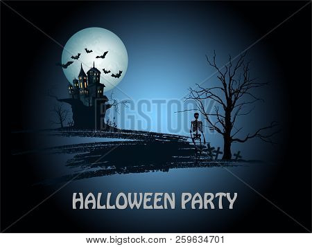 Greeting Card On A Halloween With An Old Castle On A Dark Background