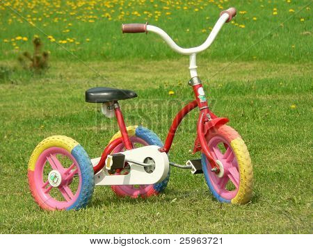 Tricycle in green grass with yellow dandelions