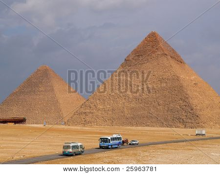 Pyramid of Cheops and  Khafre's in Giza, near Cairo, Egypt