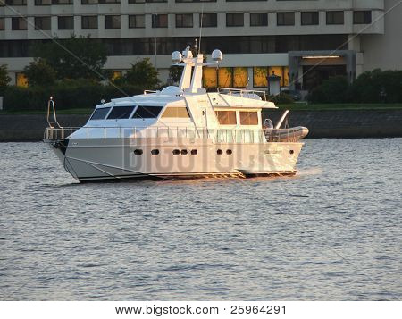 VIP boat at sunset
