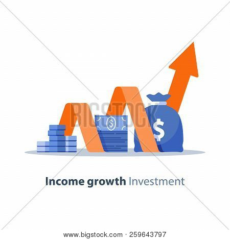 Income Growth Chart, Banking Services, Financial Report Graph, Return On Investment, Budget Planning