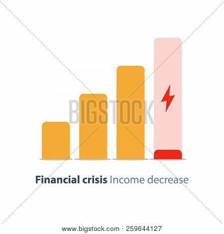 Income Decrease Graph, Financial Crisis Rate, Revenue Decline Chart, Economy Downturn, Investment Ri