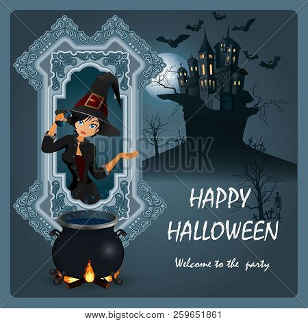 Halloween Poster With A Beautiful Witch. Vector Illustration.