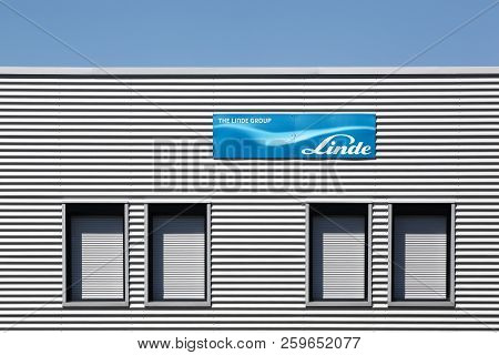 Saint Priest, France - September 8, 2018: Linde Group Office Building In France. The Linde Group Is
