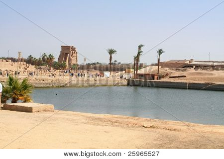 Sacred lake in Temple of Karnak, Egypt. The lake served for ritual purposes and for the purification of the priests.