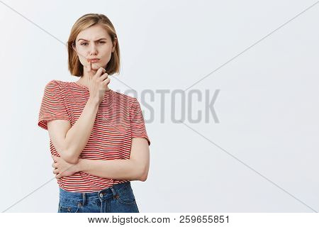 Woman Have Doubts, Staring With Disbelief At Drunk Boyfriend. Serious-looking Intense Young Wife Wit