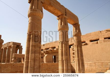 Pillars in Temple of Amon-Re-Harakhty, Karnak, Luxor, Egypt. poster