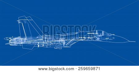 Fighter Plane Concept. Vector Rendering Of 3d. Wire-frame Style. The Layers Of Visible And Invisible