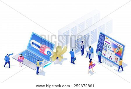 Landing Pages Website Template In The Modern 3d Isometric Style. Choosing And Buying A Domain, Hosti