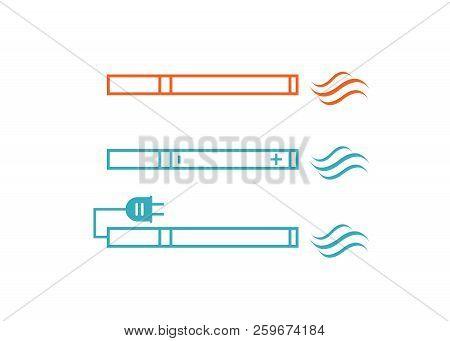 Smoking Vs Electronic Cigarette Or Vaporizer Device Vector. Electronic Cigarette Vector