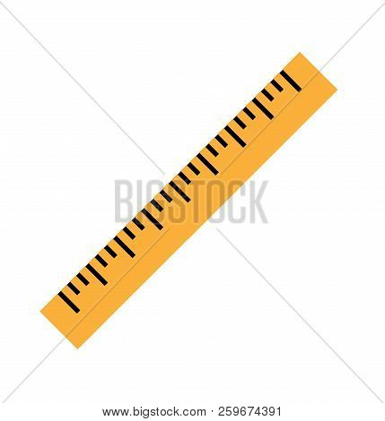 Silhouette Of A Yellow Ruler In A Flat Style. Icon Of The Yellow Ruler. Vector Yellow Ruler Isolated