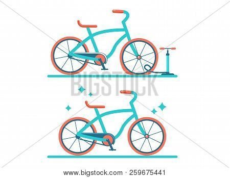 Retro Bicycle Vector Flat Illustration. Set Of Two Bicycles